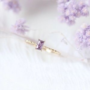 New gold plated Purple Rectangle Crystal Ring